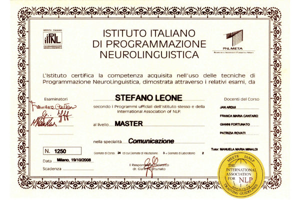 Programmazione Neuro Linguistica PNL Master certificato Stefano Leone