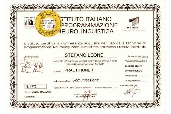 Programmazione Neuro Linguistica PNL Practitioner attestato di Stefano Leone